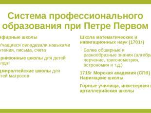 Система профессионального образования при Петре Первом Цифирные школы Учащиес