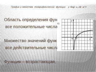 График и свойства логарифмической функции у =logₐ х, где а>1 Область определе