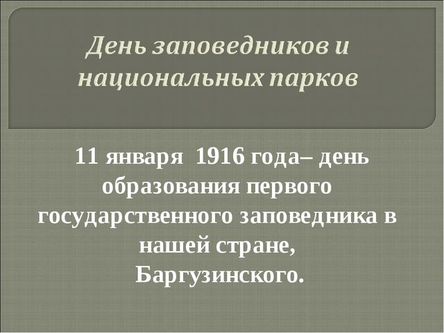 11 января 1916 года– день образования первого государственного заповедника в...