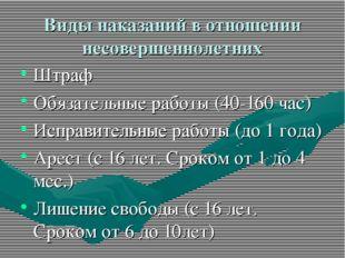 Виды наказаний в отношении несовершеннолетних Штраф Обязательные работы (40-1