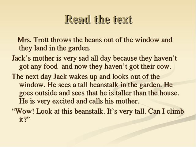 Read the text Mrs. Trott throws the beans out of the window and they land in...