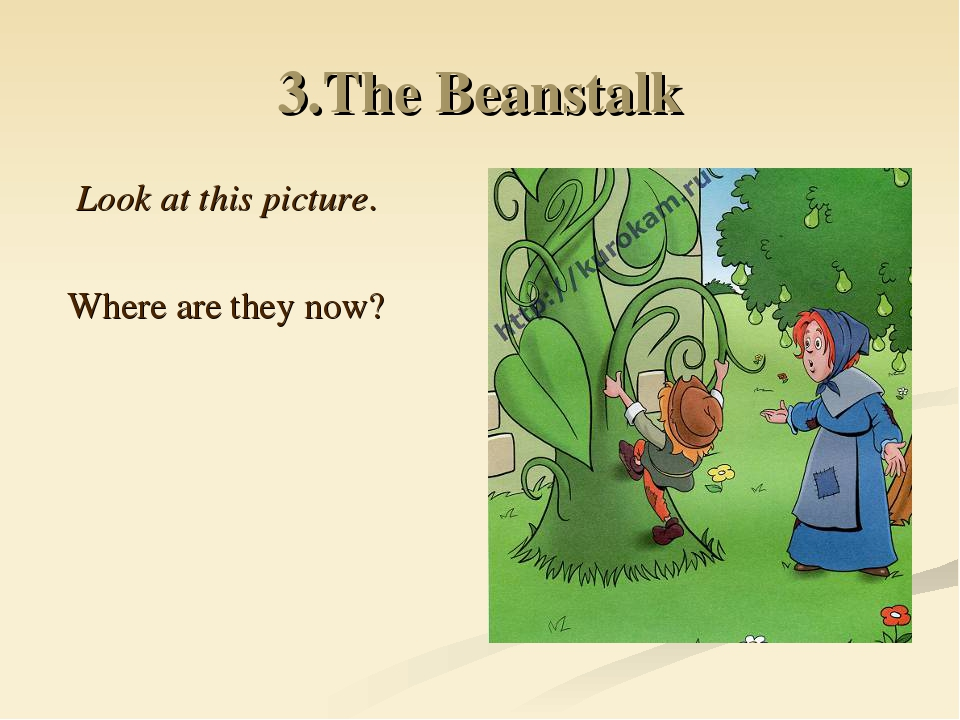3.The Beanstalk Look at this picture. Where are they now?