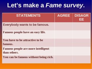 Let's make a Fame survey. STATEMENTS	AGREE	DISAGREE Everybody wants to be fam