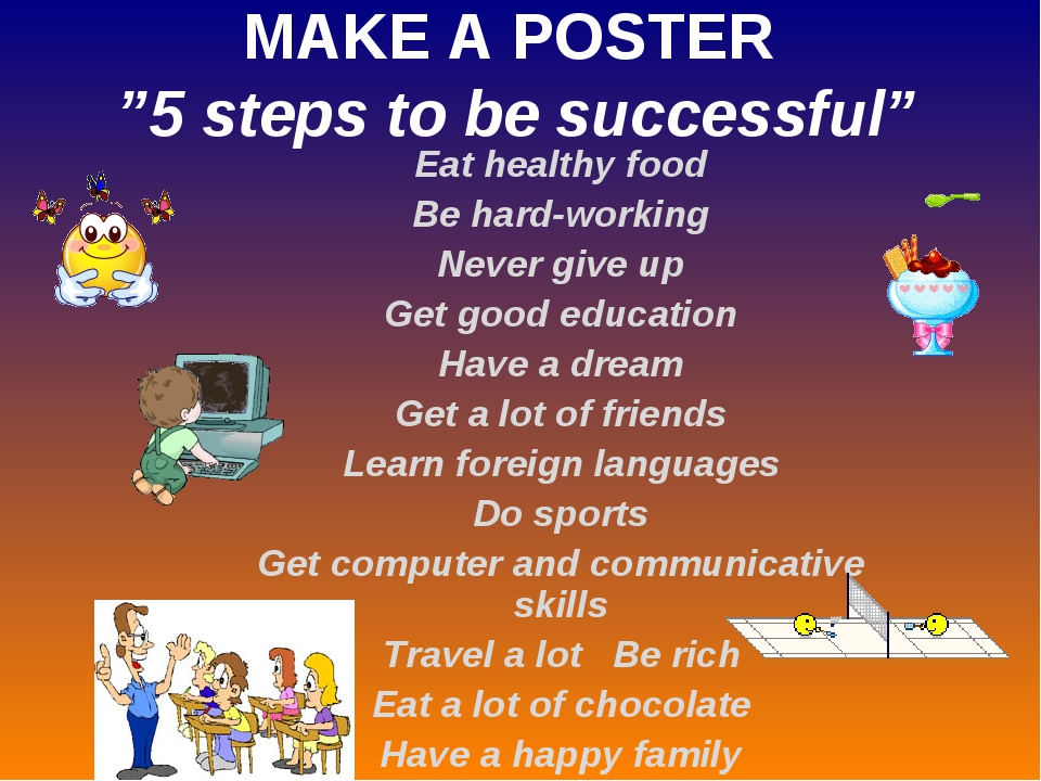 "MAKE A POSTER ""5 steps to be successful"" Eat healthy food Be hard-working Nev..."