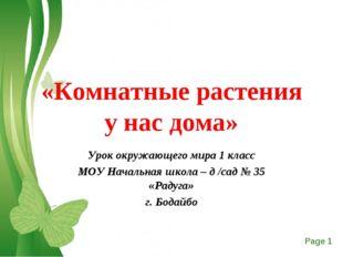 «Комнатные растения у нас дома» Урок окружающего мира 1 класс МОУ Начальная ш