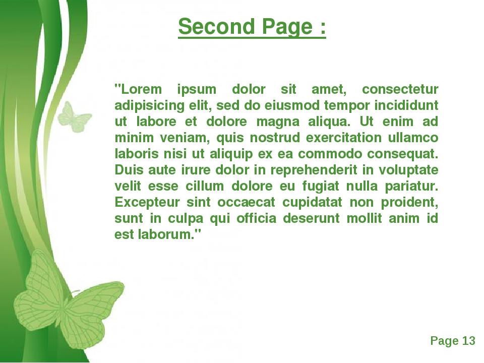 "Second Page : ""Lorem ipsum dolor sit amet, consectetur adipisicing elit, sed..."