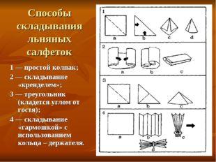 Способы складывания льняных салфеток 1 — простой колпак; 2 — складывание «кре