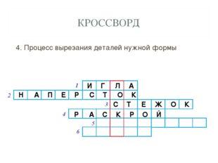 КРОССВОРД 4. Процесс вырезания деталей нужной формы И Г Л А Н А П Е Р С Т О К