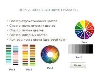 ИГРА «Я ЗНАЮ ЦВЕТОВУЮ ГРАМОТУ» Спектр ахроматических цветов. Спектр хроматиче