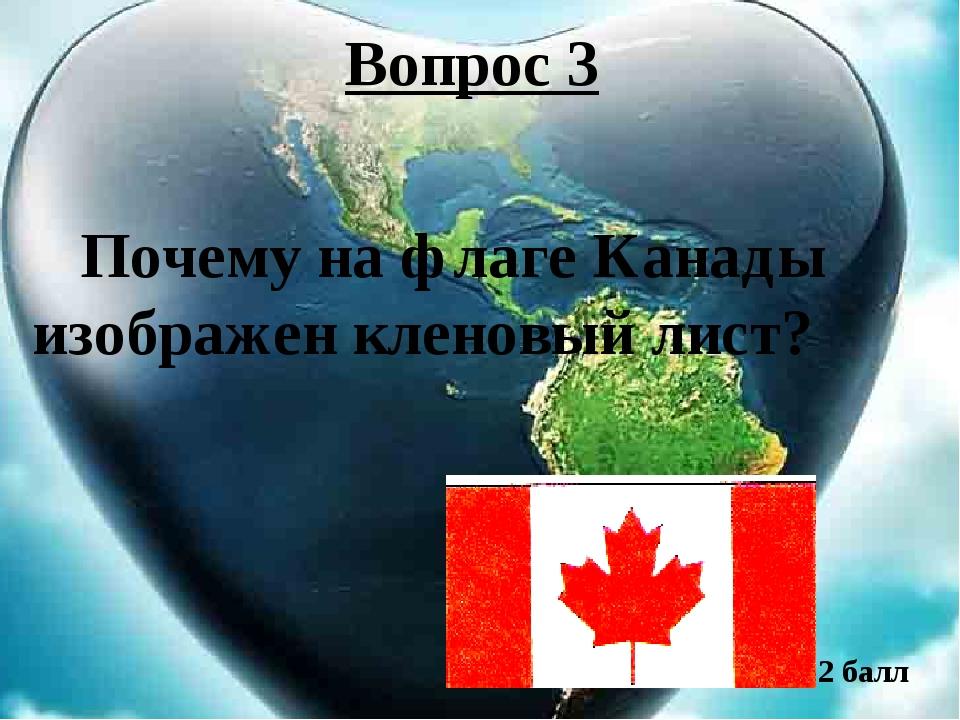Вопрос 3 Почему на флаге Канады изображен кленовый лист? 2 балл
