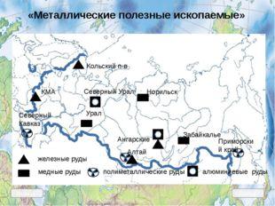 железные руды медные руды КМА Кольский п-в Урал Забайкалье полиметаллические