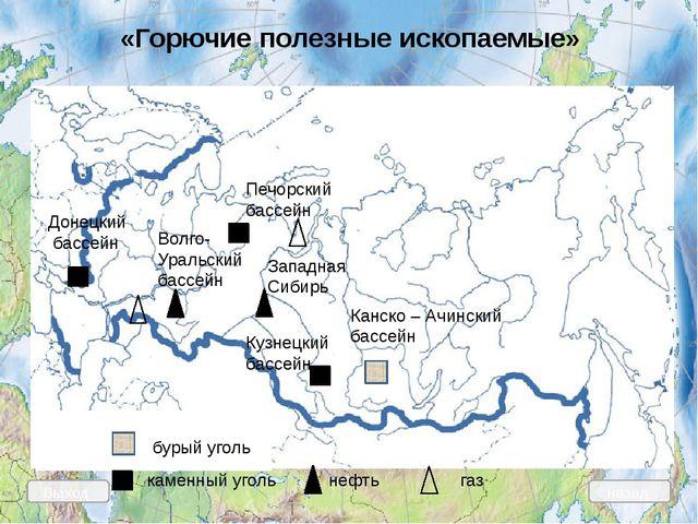 каменный уголь Печорский бассейн Донецкий бассейн Кузнецкий бассейн Западная...