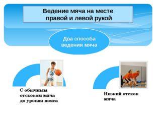 Ведение мяча на месте правой и левой рукой Два способа ведения мяча Низкий от