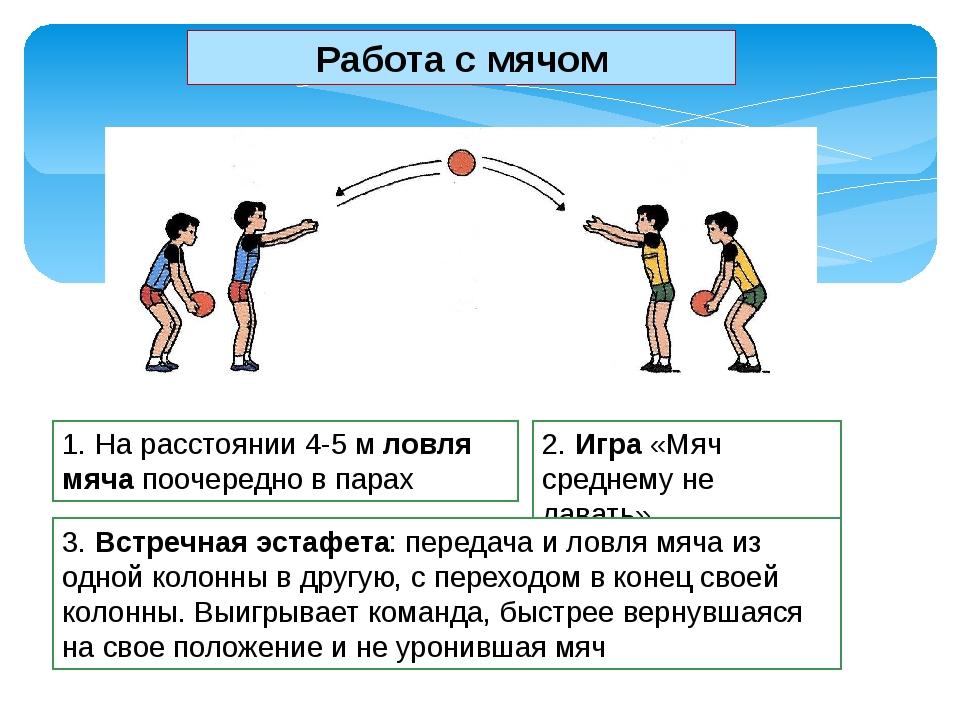 1. На расстоянии 4-5 м ловля мяча поочередно в парах 2. Игра «Мяч среднему не...
