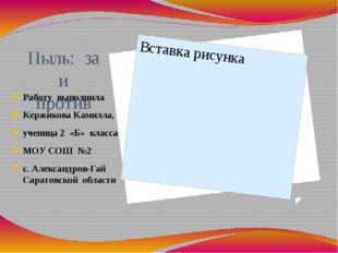 Пыль: за и против Работу выполнила Кержикова Камилла, ученица 2 «Б» класса МО