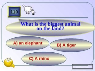 C) A rhino B) A tiger А) an elephant 110 What is the biggest animal on the la
