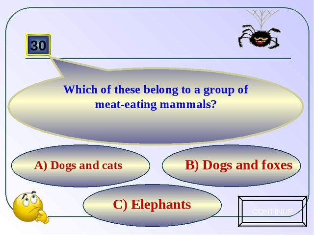 C) Elephants B) Dogs and foxes А) Dogs and cats 30 Which of these belong to a...