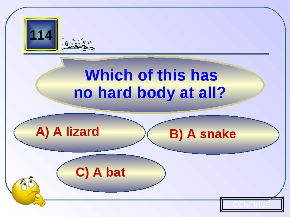 C) A bat B) A snake A) A lizard 114 Which of this has no hard body at all? CO...