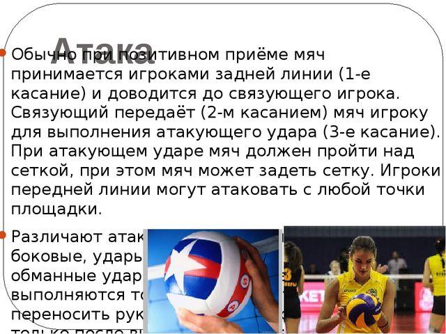 Атака Обычно при позитивном приёме мяч принимается игроками задней линии (1-е...