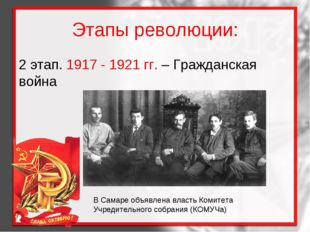 Этапы революции: 2 этап. 1917 - 1921 гг. – Гражданская война В Самаре объявле