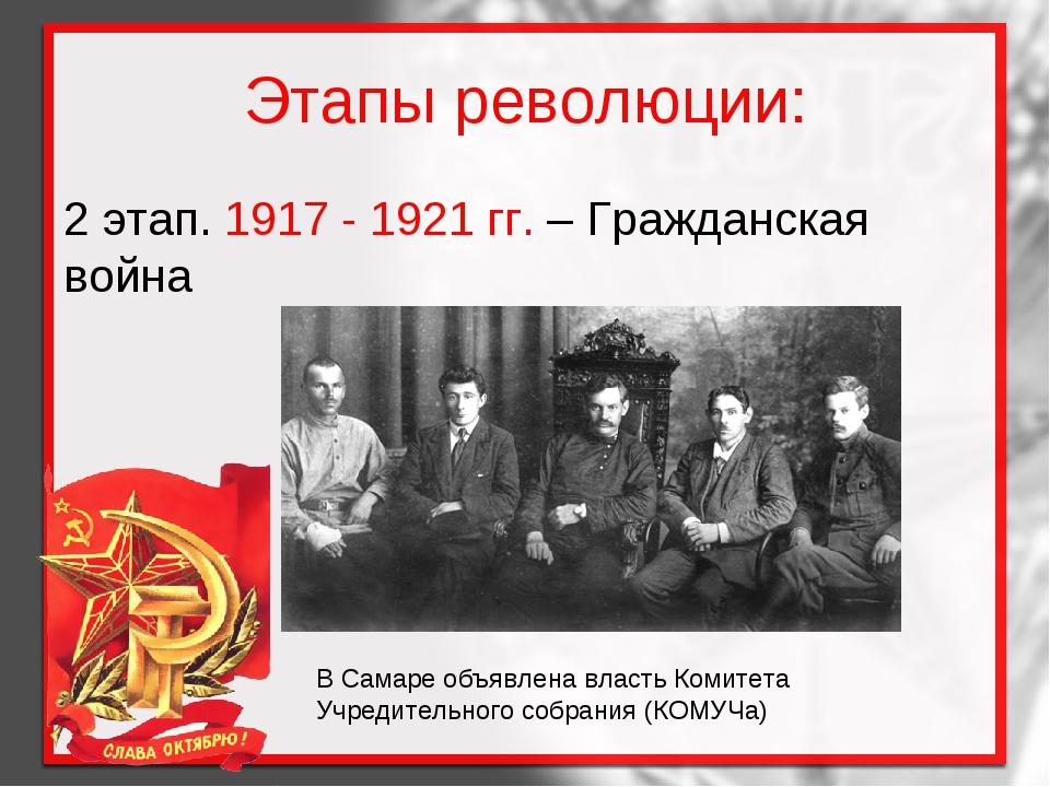 Этапы революции: 2 этап. 1917 - 1921 гг. – Гражданская война В Самаре объявле...