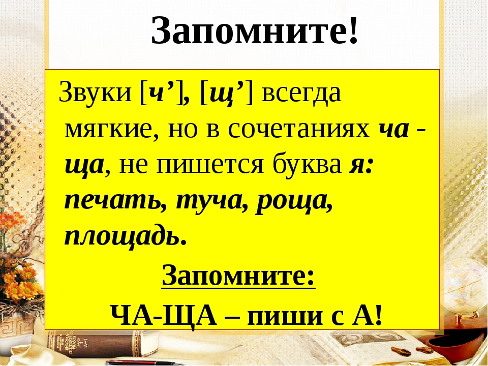 Запомните! Звуки [ч'], [щ'] всегда мягкие, но в сочетаниях ча - ща, не пишет...