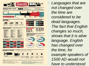 Languages that are not changed over the time are considered to be dead langua