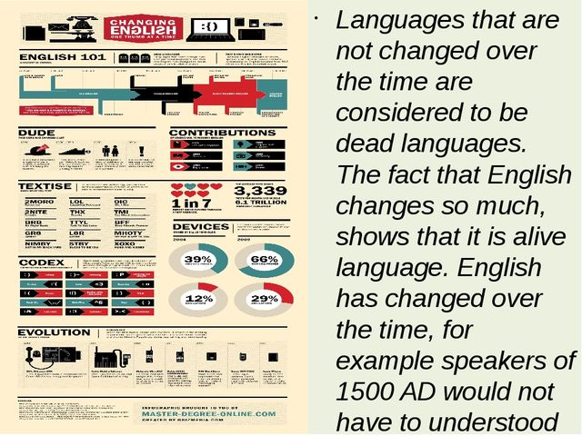 Languages that are not changed over the time are considered to be dead langua...