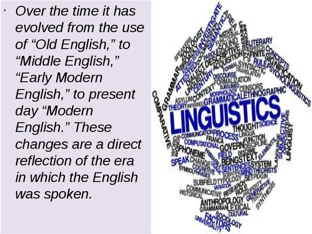 "Over the time it has evolved from the use of ""Old English,"" to ""Middle Englis..."