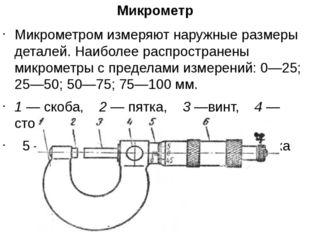 Микрометр Микрометром измеряют наружные размеры деталей. Наиболее распростран
