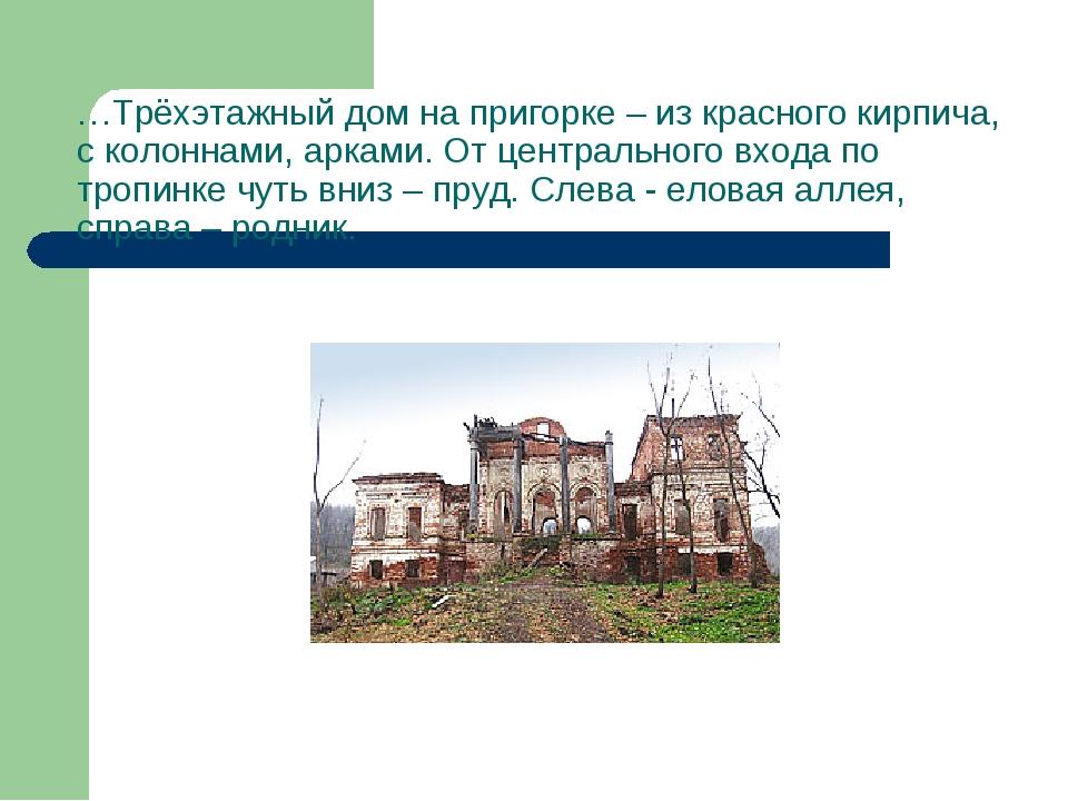 …Трёхэтажный дом на пригорке – из красного кирпича, с колоннами, арками. От ц...