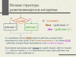 Полная структура разветвляющегося алгоритма if  then  else  ; Выполнение прог