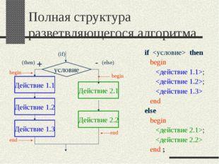 Полная структура разветвляющегося алгоритма if  then begin ; ;  end else begi