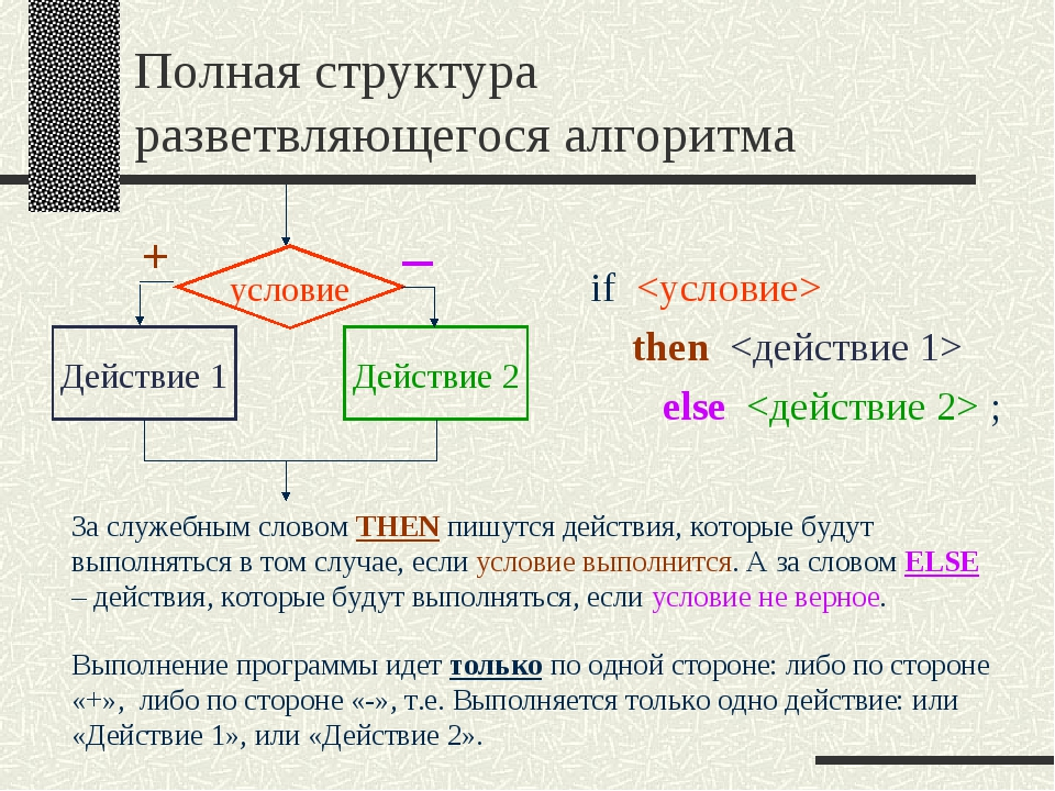 Полная структура разветвляющегося алгоритма if  then  else  ; Выполнение прог...