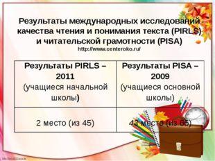 Результаты международных исследований качества чтения и понимания текста (PIR