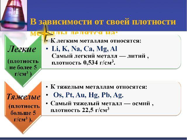 В зависимости от своей плотности металлы делятся на: