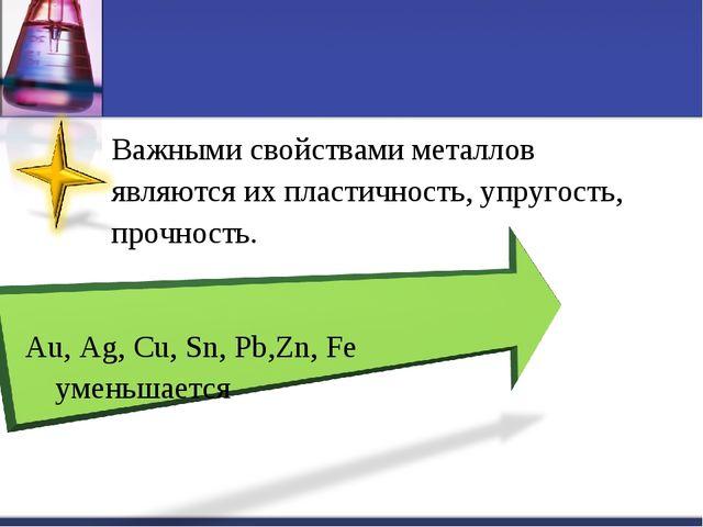 Важными свойствами металлов являются их пластичность, упругость, прочность....