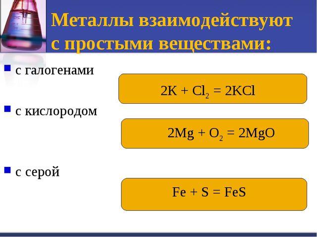 Металлы взаимодействуют с простыми веществами: с галогенами с кислородом с се...