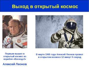 Выход в открытый космос Первым вышел в открытый космос из корабля «Восход-2»