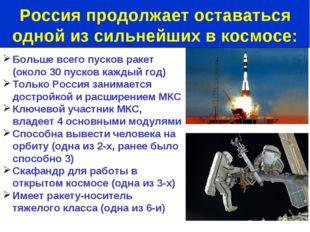 Больше всего пусков ракет (около 30 пусков каждый год) Только Россия занимает