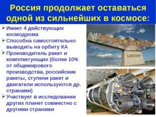 Имеет 4 действующих космодрома Способна самостоятельно выводить на орбиту КА