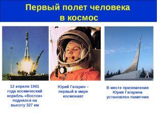 Первый полет человека в космос Юрий Гагарин – первый в мире космонавт 12 апре