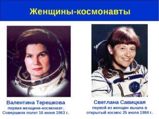 Женщины-космонавты Валентина Терешкова первая женщина-космонавт. Совершила по