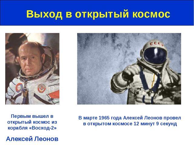 Выход в открытый космос Первым вышел в открытый космос из корабля «Восход-2»...
