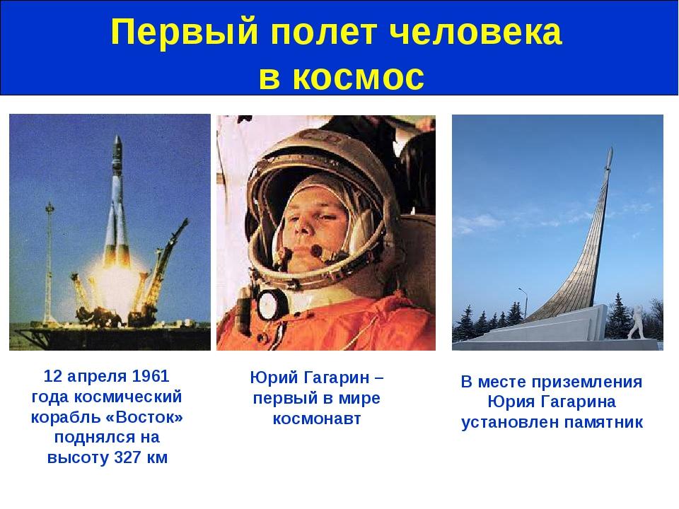 Первый полет человека в космос Юрий Гагарин – первый в мире космонавт 12 апре...