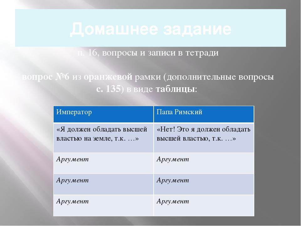Домашнее задание п. 16, вопросы и записи в тетради вопрос №6 из оранжевой рам...
