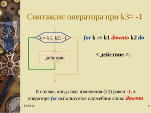 * * Синтаксис оператора при k3= -1 for k := k1 downto k2 do < действие >; k =