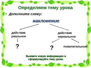 Определяем тему урока Дополните схему: наклонение действие реальное действие