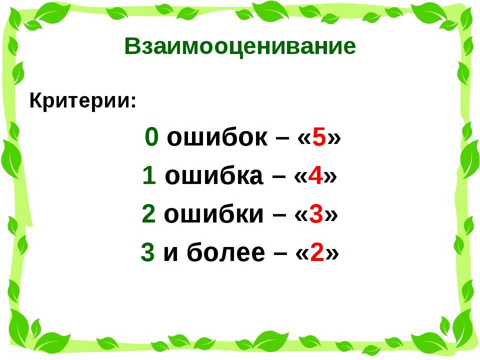 Взаимооценивание Критерии: 0 ошибок – «5» 1 ошибка – «4» 2 ошибки – «3» 3 и б...