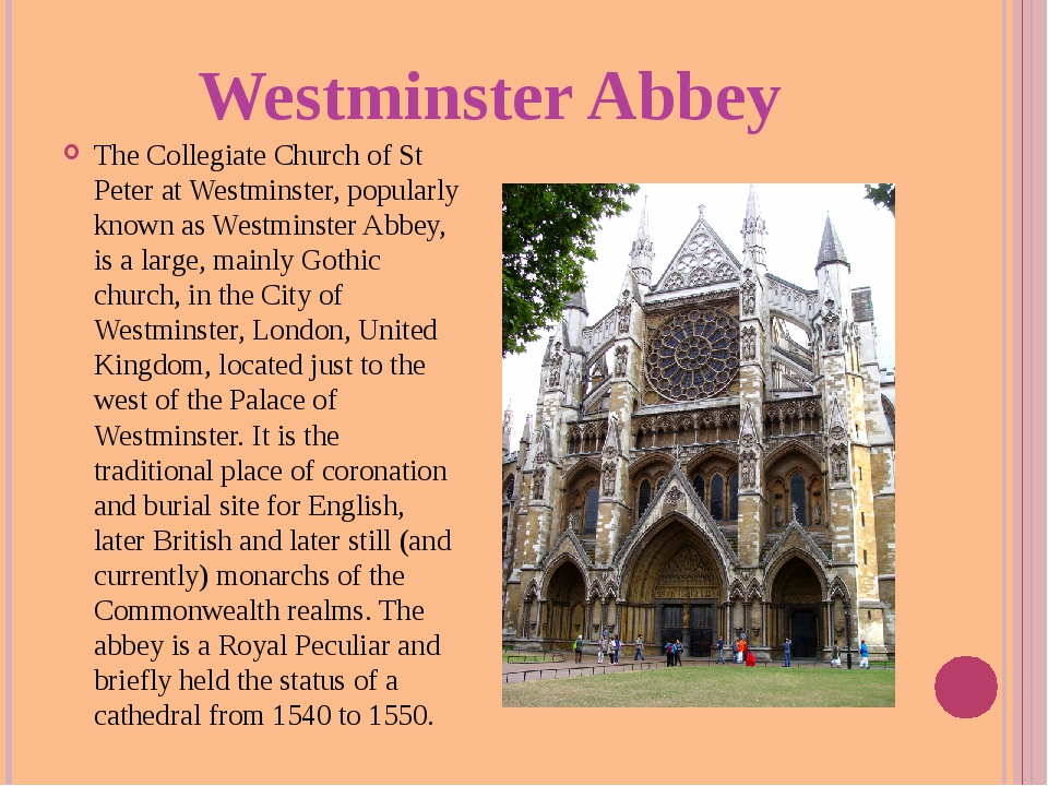 Westminster Abbey The Collegiate Church of St Peter at Westminster, popularly...